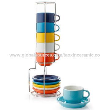 2 5oz Porcelain Stackable Espresso Cups