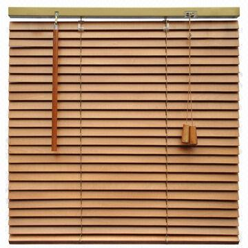 China 1 Inch 25mm Basswood Venetian Blinds Made Of Basswood Wand Control