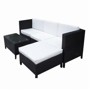 China Steel Frame KD Rattan Sofa Set For Mail Orders
