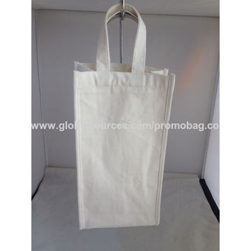 China Single cotton wine bags with gold printing
