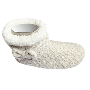 China Womens Cable Knitted Slippers Boots With Cuff Bowknot On