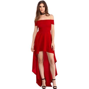 3c6d1dd92846 China Red High Low Hem Off Shoulder Party Dress, Evening Dresses on ...