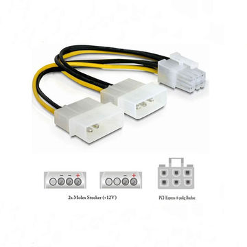 6pin pci e to dual molex 4pin power cable global sources