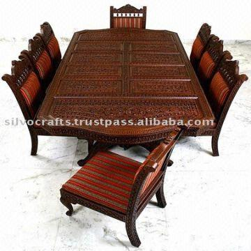 Indian Teak Wood Hand Carved Dining Room Set Restaurant