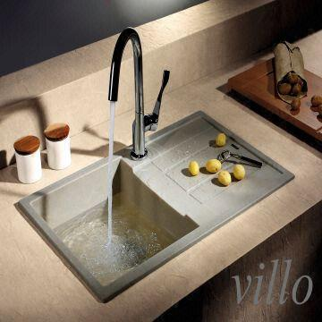 China Kitchen Granite Above Counter Single Bowl With Draining Board Sinks  Manufacture