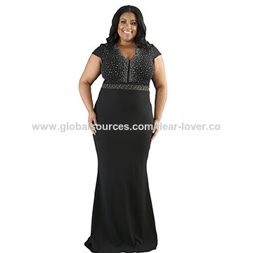 China Women Black Rhinestone Front Bodice Plus Size Dress,Made of 95 ...
