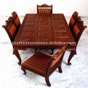 Indian Teak Wood Hand Carved Dining Room Set Restaurant Furniture Table Chair
