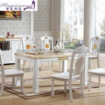 ... China Modern Square Wooden Marble Top Dining Table