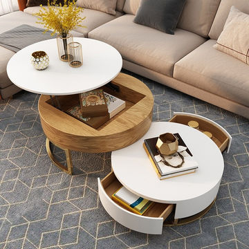 China Modern Round Coffee Table With Storage Lift Top Wood Coffee