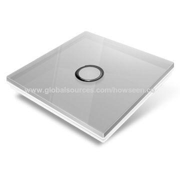 China Smart Home Wireless Light Switch, Gray Glass Panel, 2-gang