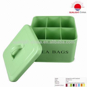 China Galvanized Tea Bags Storage Bin Metal Box Teabag