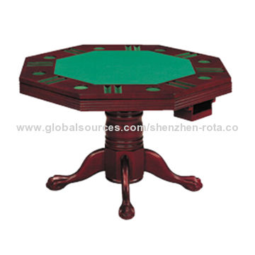 Wooden 3 In 1 Octagon Games Table In Wine Red Finish Multiple Games