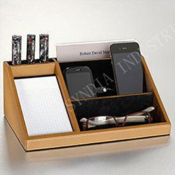 China Leather Desk Organizer Charging Station Valet