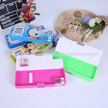 China Plastic pencil box double-sided pencil case with calculator and pencil sharpener