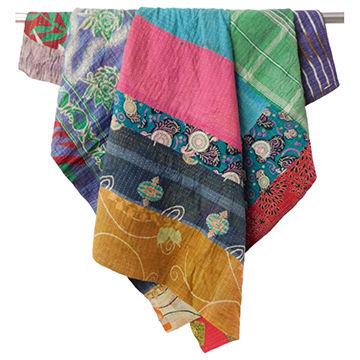 Vintage Kantha Quilt Plaids Gudri Reversible Throw Ralli Bedspread Bedding Indian Handmade OG294
