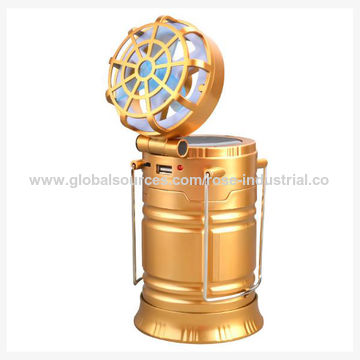 China Portable Rechargeable & Extensible Smart Solar LED Camping Lantern with Fan