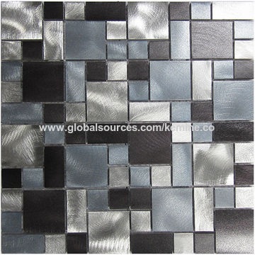 China Aluminum Metal Mosaic Tile Silver Blue And Black Brushed Background Decoration Lfb22
