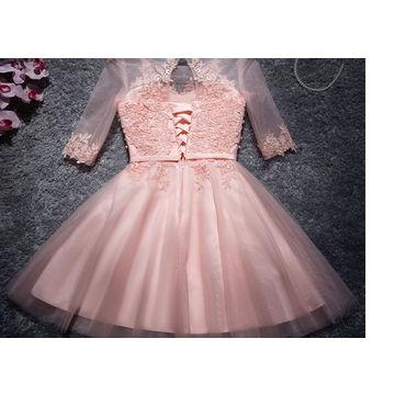 ca114bde003 ... China Knee Length Cocktail Dresses Half Sleeves Lace Appliques Light  Pink Cocktail Dress Vestidos Coctel ...
