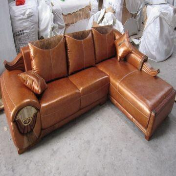 High Quality Wooden Leather Sofa China