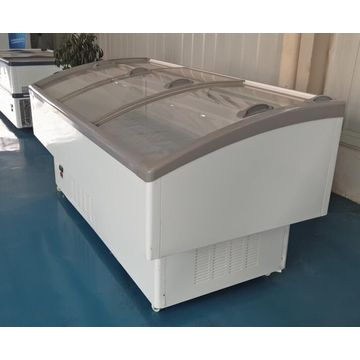China Curved glass cover island freezer for fruit and vegetable display