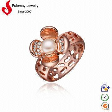 18k italian rose gold jewelry costume lotus flower ring FPR266