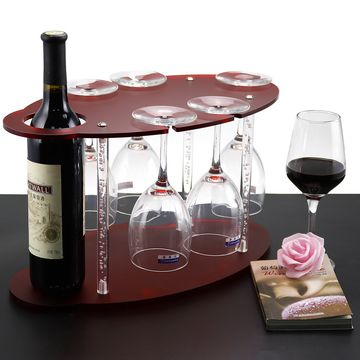 Red Frosted Acrylic Wine Rack Free Standing On Table Wine Glass
