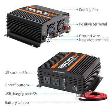 12vdc 120vac 1500w Power Inverters For Camping Home