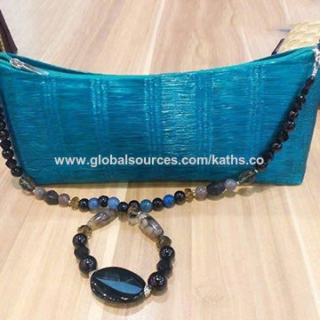 Handcrafted Buntal Fiber Bag With Assorted Natural Stones Global