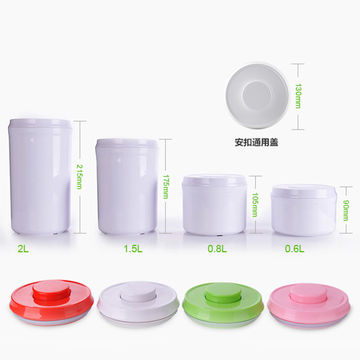 New Design One Touch Button OpenClose 800mL Airtight Plastic Food