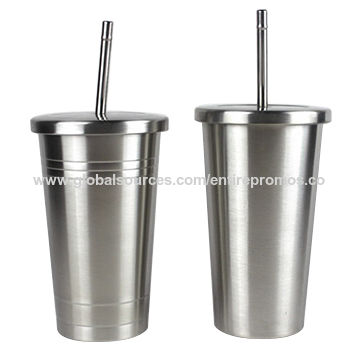 f9168a35aee China 16oz stainless steel tumbler with straw and lid outdoor drinking cup  ...