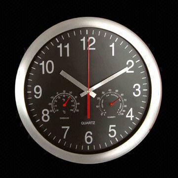 China 12 Inch Metal Wall Clock With Weather Station Available For Sweep Or Radio
