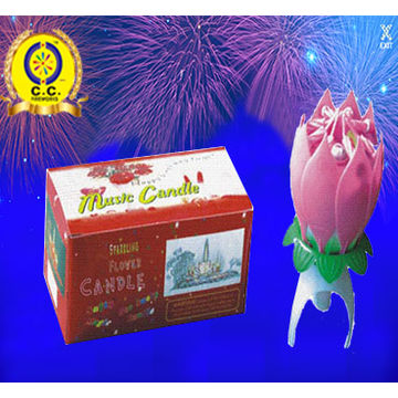 China Flower Lotus Led Musical Happy Birthday Candle Fireworks For Party Popper Confetti Wholesale