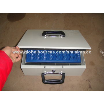 China Cash Box, Cash-safe, Removable Cash Tray with Compartment for Rolled Euro Coins and Business Cheques