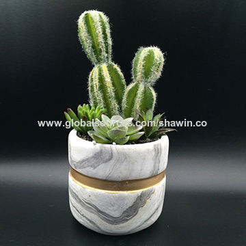 china mini bonsai artificial cactus plants in concrete pot for home