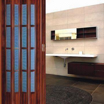 China Glass PVC Folding Door Measures 86 X 203cm With Rigid Hinge Connection