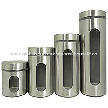 China Stainless Steel and Glass Kitchen Canisters on Global ...