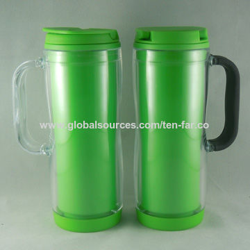 new design double wall plastic travel mug