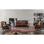 China Single-seater Classic Sofa with Italian Leather Cushion and Solid Wood Frame