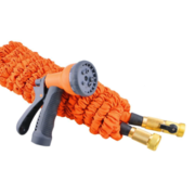 China Multicolor 100ft expandable garden hose with 8-way hose nozzle, brass couplings with valve