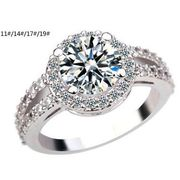 China Fashionable Design Platinum-plated Colorful Cubic Zirconia Rhinestone Rings for Women