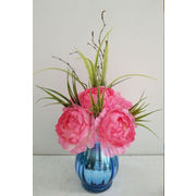 China artificial silk flowers pink peony and grass arrangement in china artificial silk flowers pink peony and grass arrangement in blue silver vase home mightylinksfo