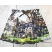 China Girls' skirt, double lace skirt, print - pattern, translucent lattice mesh,elastic waist,small group