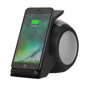 China Mini portable NFC Bluetooth speaker with wireless charger mobile phone stand