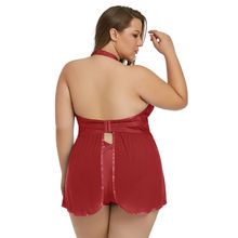 620ced5365 ... China Red Plus Size Sexy Sheer Fantasy Babydoll Lingerie Set ...