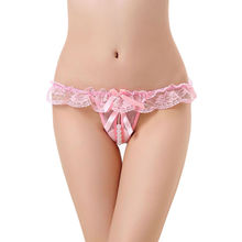 30afb176b ... China Red Sheer Lace Ruffle Beaded Open Crotch G-string