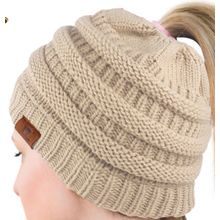 441657c767103 ... China Women s Winter Fleece Lined Cable Knitted Pom Pom Beanie Hat with  Hair Tie