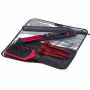 Hair Care Set with Collection Pouch, Hair Straightener, Brush and Clips