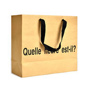China Art Paper Bag with Cotton Ribbon Handle in Silver Hot-stamp, Available in Various Sizes