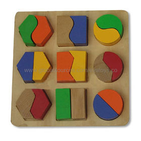 Wooden Block Toy to Inspirate Kid's Imagination, Measuring 20.5 x 20.5 x 3cm