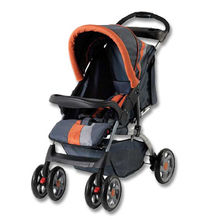 Stroller with Front/Rear Wheel Suspension and Adjustable Seat Length